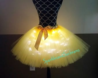 Yellow LED tutu** Halloween Orders Available **/ Children to adult Tutu costumes/ Light up tulle skirts (33 colors available)