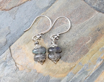 Labradorite Earrings, Natural Stone Earrings, Silver Earrings, Gray Earrings, Handmade Earrings, Gray Stone Earrings, Gemstone Earrings