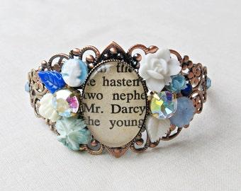 Pride and Prejudice Jewelry - Cuff Bangle Bracelet Mr Darcy Jane Austen - Blue White Botanical Floral