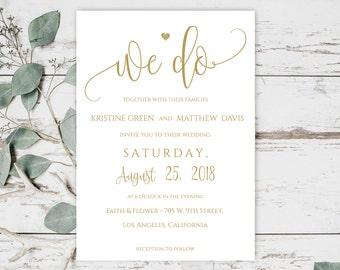 We Do Wedding Invitation, Gold Wedding Invitation Set, Printable Wedding Invitation Set, Wedding Invitation Suite, Gold Wedding, 6023_1G