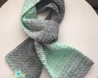 Chunky Crochet Scarf, Bulky Crochet Scarf, Long Winter Scarf, Mint Green Scarf, Striped Crochet Scarf, Winter Scarf, Gray & Mint Green Scarf