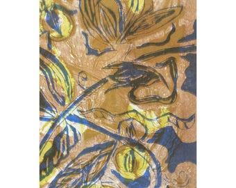 Wood Block Print - Botanical Seven OOAK by Marti Schmidt 12x15 - Fine Art, Floral, Coastal, Tropical