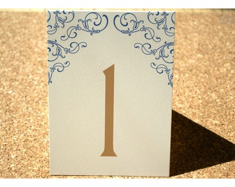 Table Number Cards - Table Cards - Wedding Seating  - Elegant Flowers and Flourish Vine - Day of Wedding Stationery