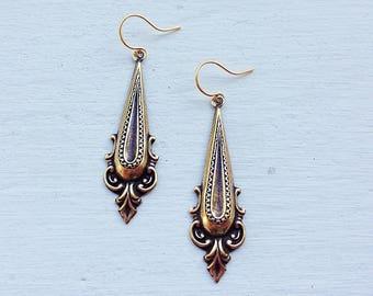 Gift For Her/Bohemian Earrings/Boho Earrings/Gold Earrings/Lightweight Earrings/Art Deco Earrings/Dangle Earrings/Mother's Day Gift