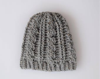 Warm Gray Crochet Cable Styled Adult Hat