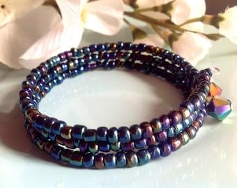 Memory wire bracelet, seed bead bracelet, aurora borealis jewelry, bangle, charm bracelet, trendy jewelry, handcrafted, handmade