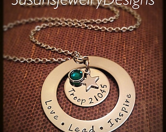 Scout Troop Necklace - Love Lead Inspire - stainless steel 1 sided washer and disc & star charm - choice of chain and Swarovski crystal