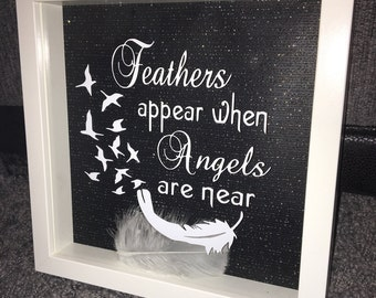 Feathers appear when angels are near box frame. Remembering a loved one ...