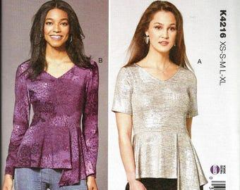 Kwik Sew 4216 size XS - XL Knits Only  new uncut womans blouse