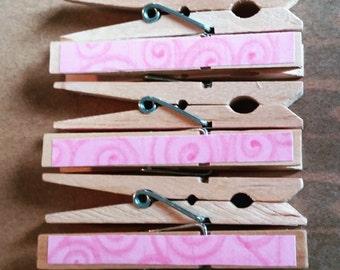 Pink Swirl Clothespins