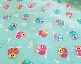 Teal Winking Owl Fabric | Girl Nursery Fabric | Abstract Foral Owl  Fabric | Woodland fabric |  fabric by the yard | Fabric for Her