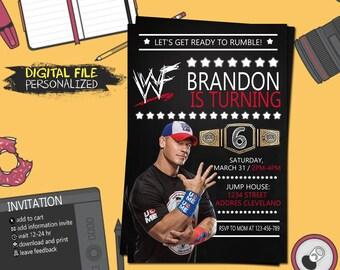 Wrestling invitation etsy wwe wrestling birthday invitation filmwisefo