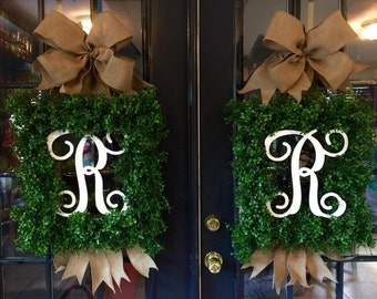 Monogram Boxwood Wreath Everyday Wreath Monogram Spring Summer Wreath Boxwood Wreaths