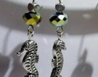 Black Rainbow and Silver Seahorse Dangle Earrings