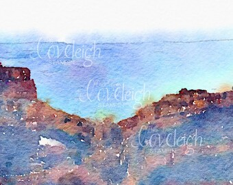 Watercolor Grand Canyon Art Digital Photo
