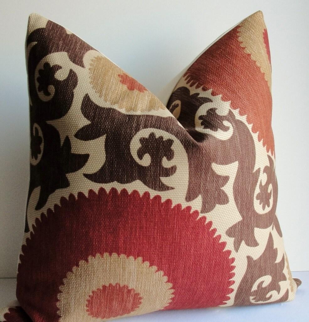 Designer Fahri Suzani Brown Rust Red Tan Decorative Pillow