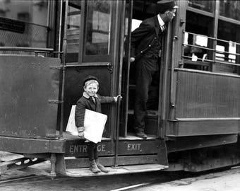 "1910 Young Newsboy on Streetcar, St Louis Vintage Photograph 8.5"" x 11"" Reprint"