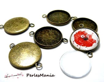 20 pieces: 10 blank pendant connector quality round attached BRONZE 18mm and 10 glass 18 mm cabochons