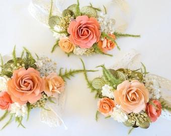 Peach Wrist Corsage, Prom Corsage, Boho Wedding, Wrist Corsage, Dried Flower Corsage, Coral Wedding Corsage, Peach Wedding