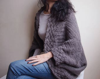 Crochet PATTERN(30) Celtic cable cocoon sweater, women cardigan,  women shrug, pullover, DIY, Instant download