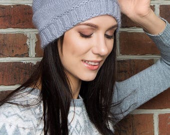 NEW!!! Grey gently hat, angora merino hat, knit soft hat, lovely hat, spring hat, basic woman hat