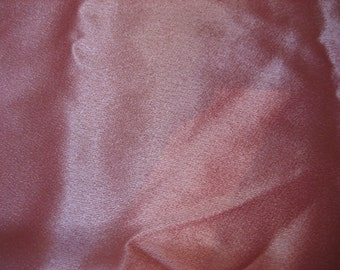 "1 Yd + 34"" @45"" wide pink satin with beautiful crepe 'wrong' wide"