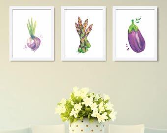 Kitchen Decor-Vegetables Print-Vegetables Decor-Vegetables Kitchen Art-Kitchen Poster-Food Art-Kitchen Print-Set of 3 Prints-Modern Decor