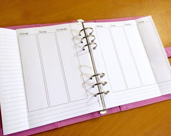 Extended Week on Two pages - Insert A5 - Filofax - Kikki K - Paperchase - Planner - Ring Binder - 6 holes punched - Undated