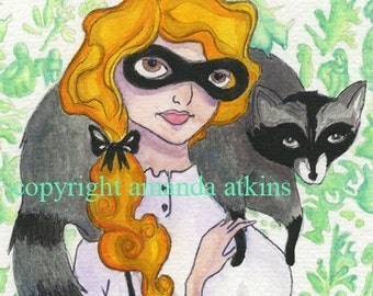 Rebecca and the Raccoon vintage inspired toile wallpaper print by Amanda Atkins