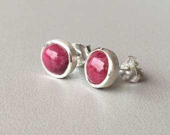 Ruby Stud Earrings Sterling Silver Stud earrings July Birthstone Bridesmaid gift