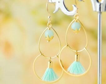 Mint Tassel Earrings Amazonite Earrings Boho Earrings Mint Green Earrings Gold Dangle Earrings Gemstone Earrings  Long Tassel Earrings