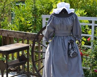 Regency Gown Jane Austen Dress Sash Chocker Mop Hat and Purse Reticule