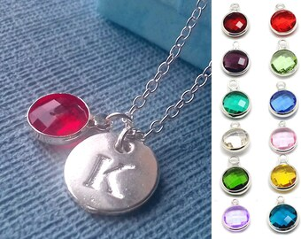 July birthstone - Initial necklace - birthstone necklace - ruby necklace - initial jewelry - birthstone jewelry - july birthday - monogram