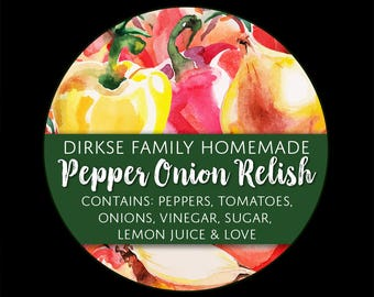 Customized Label for Pepper Onion Relish - Watercolor Style Canning Jar Label - Wide Mouth & Regular Mouth - Watercolor Style Label
