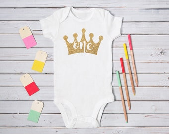 Baby Girl 1st Birthday Bodysuit / One Babygrow / Vest Top / Gold / Bling / Princess Crown / Photo Op / First / Cake Smash