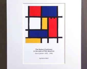 Hudson Ohio Clocktower, Mondrian Color Grid Style, 10x8 inches, Art Print, Matted, by Hudson Ohio Artist Karen Koch