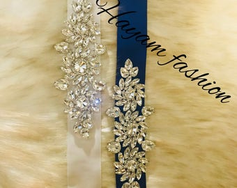 Bridal sash belt - wedding sash- Crystal Bridal Belt - Blue Bridal sash- free Domestic shopping