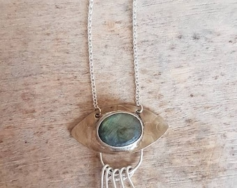 Labradorite sterling silver necklace, bohemian necklace, celestial necklace, wedding celestial, geometric pendant, evil eye, easter jewelry