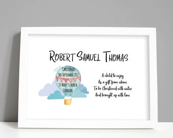Personalised Christening Print - Personalized Baptism Print for boy or girl