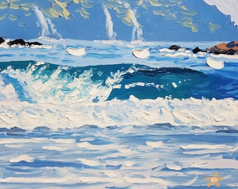 Nautical decor / ocean painting / coastal decor / seascape painting / surf art / small painting / oil painting / palette knife painting