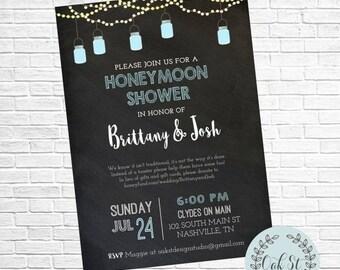 HALF OFF Honeymoon Shower Invitation, Chalkboard Mason Jar Wedding Shower, Bridal Shower Invite, Couples Shower, Wedding Shower Invitation