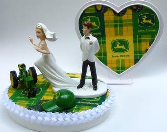 Wedding Cake Topper John Deere Green Tractor Themed w/ Bridal