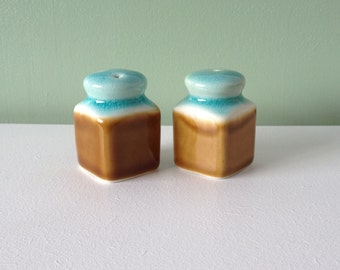 Vintage Salt & pepper shakers / brown and blue pottery salt and pepper shakers / 70's retro