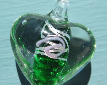 1PC - Glass Pendant - Heart - Clear with Green - 35x30mm