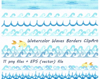 Watercolor Waves Borders Clipart, Waves clip art, Watercolour, clipart, PNG, EPS, vector, Borders, Personal and Commercial Use
