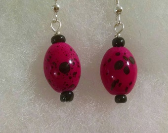 Bright Pink and Black Hanging Earrings Item No. 73