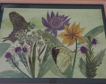 "Botanical watercolor/ink. framed . ""REDUCED PRICE"""
