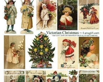 VICTORIAN CHRISTMAS digital collage sheet, vintage images, holiday cards, angels, tree, Clapsaddle children, printable art ephemera DOWNLOAD