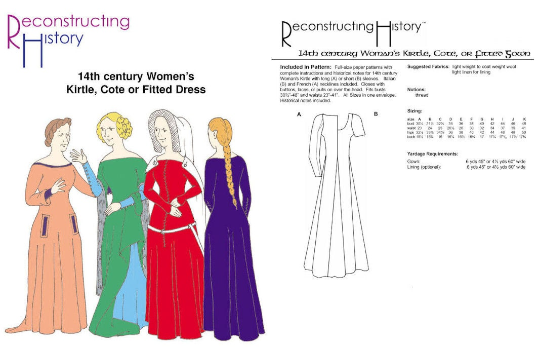 RC017 - 14th Century Women\'s Kirtle or Cotehardie Sewing Pattern by ...