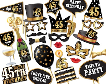 45th birthday Photo Booth props - Instant Download printable PDF. Forty fifth birthday party Photo Booth supplies. Forty Five Today - 0219